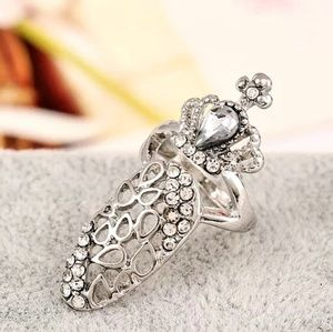 silver Crystal nail ring accessorie